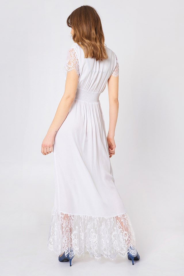 Buttoned Maxi Lace Dress White