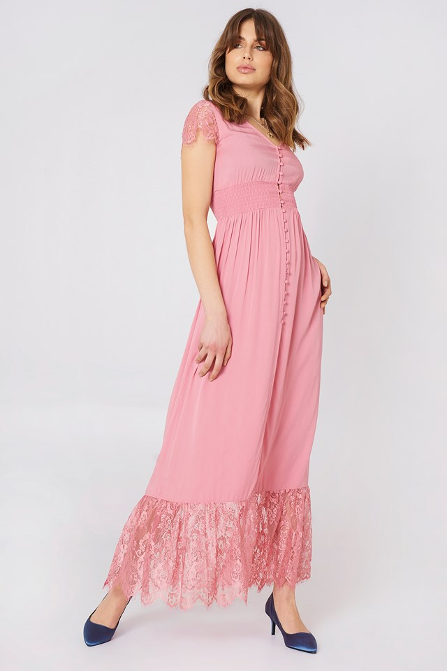 Buttoned Maxi Lace Dress Rose