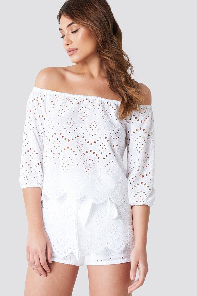 Crochet Off Shoulder Top White