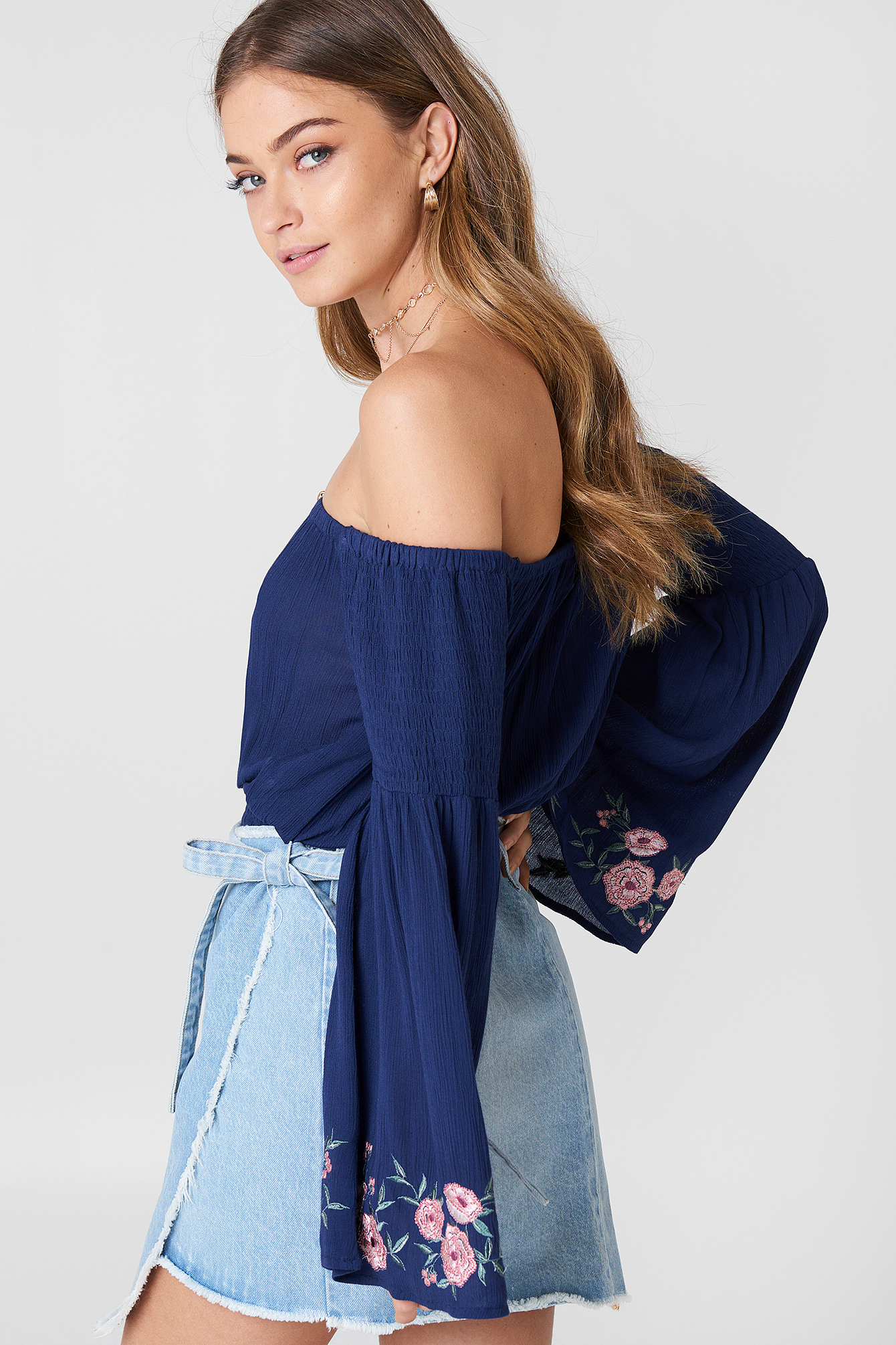Embroidered Smocked Off Shoulder Top NA-KD.COM