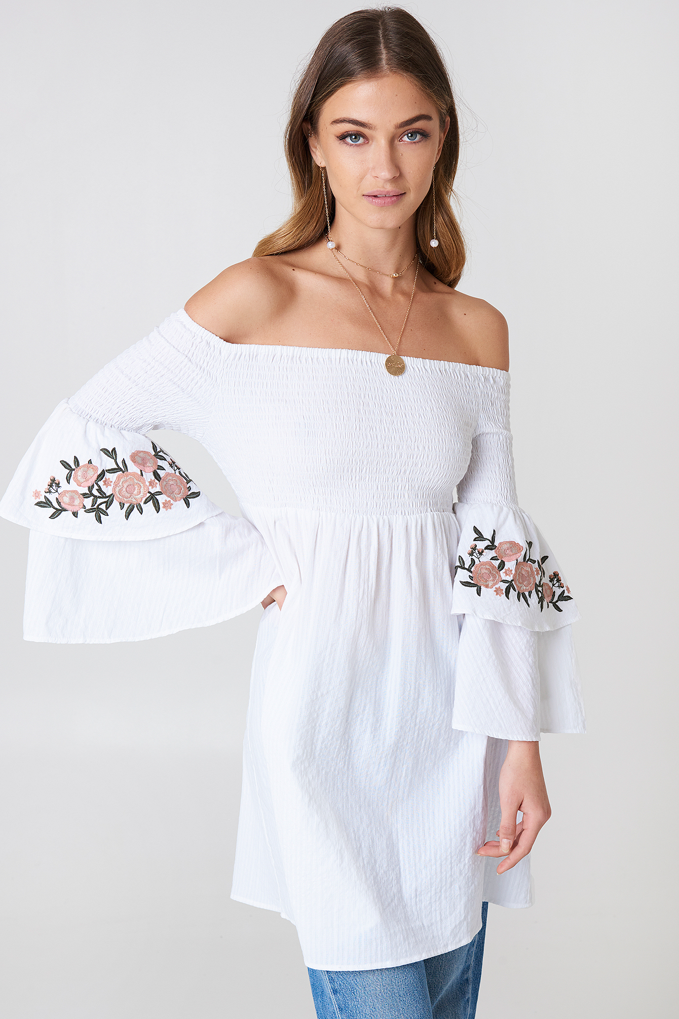 Embroidered Smocked Off Shoulder Tunic