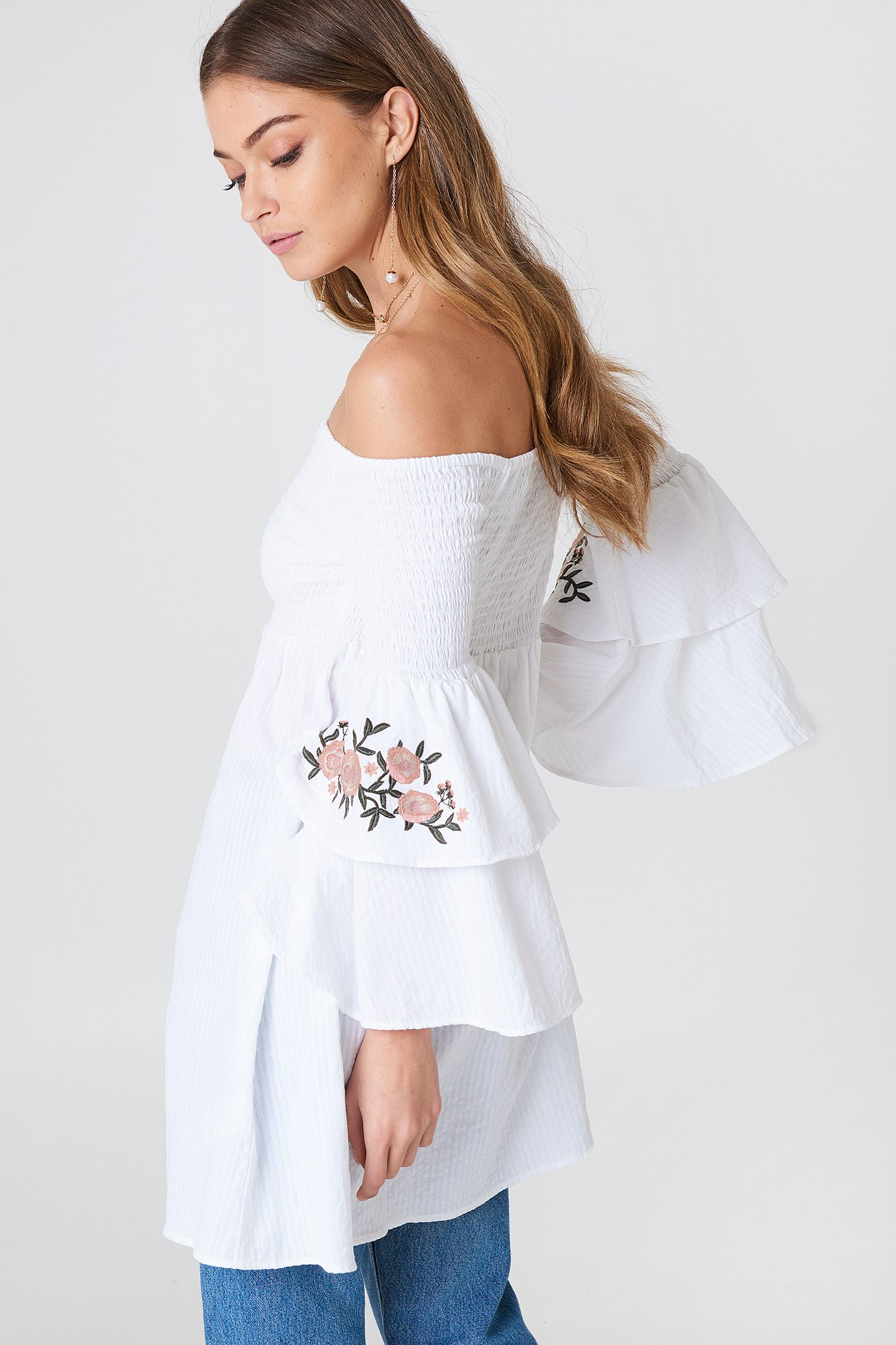 Embroidered Smocked Off Shoulder Tunic NA-KD.COM