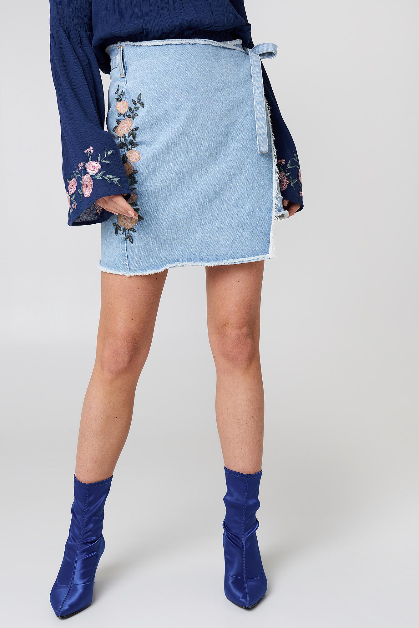 Embroidered Wrap Denim Skirt NA-KD.COM