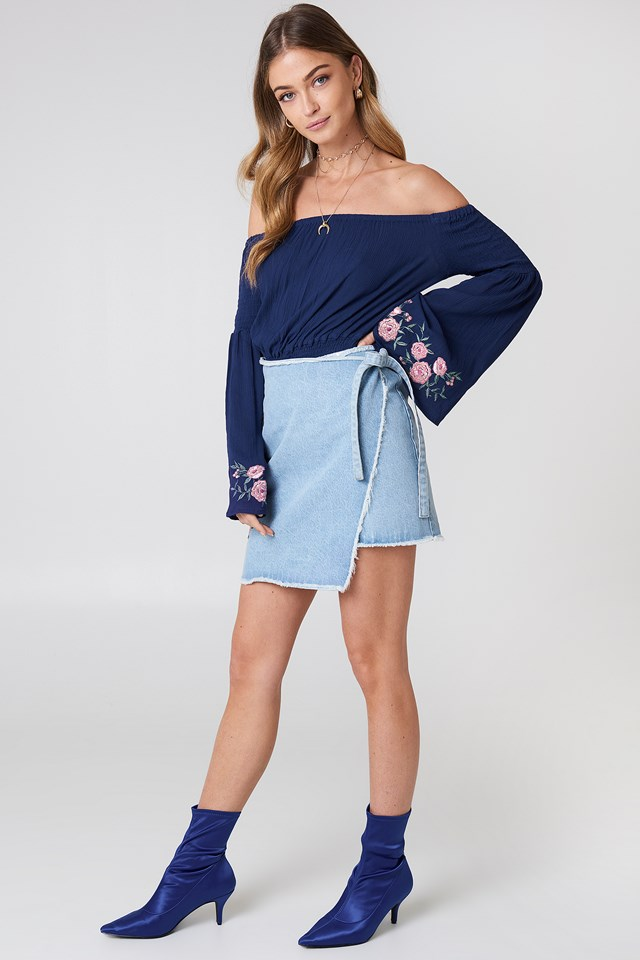 Embroidered Wrap Denim Skirt Light Blue Denim