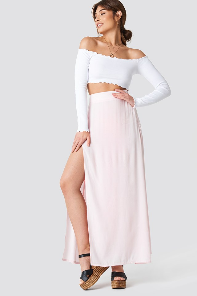 High Side Slit Long Skirt Pink