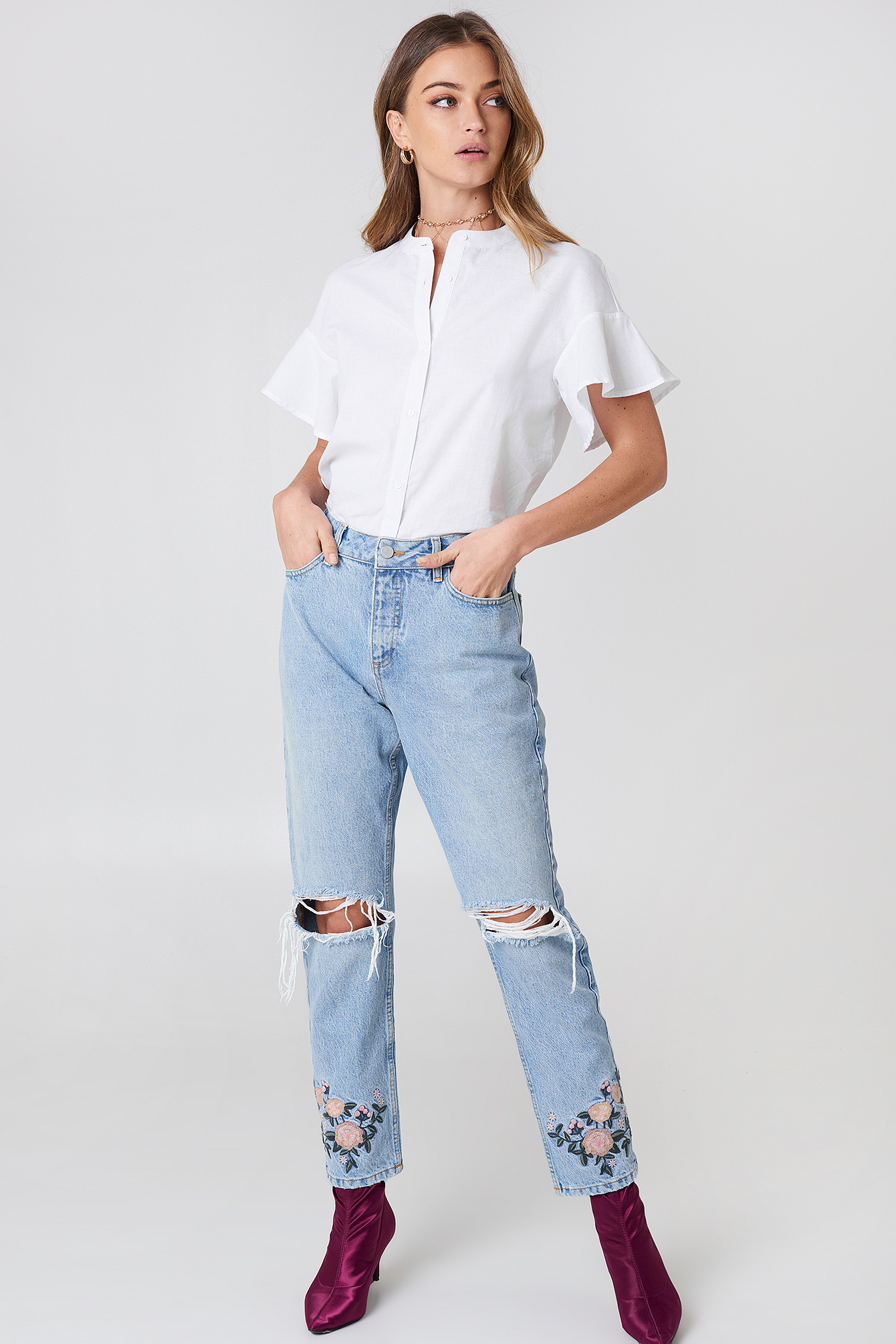 High Waist Embroidered Ankle Jeans NA-KD.COM