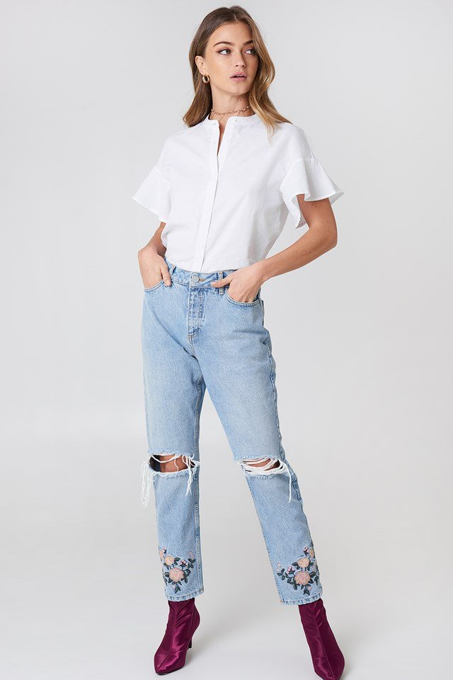 High Waist Embroidered Ankle Jeans Light Blue Denim