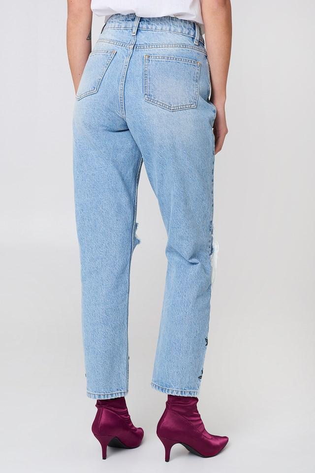 High Waist Embroidered Ankle Jeans Light Blue Denim