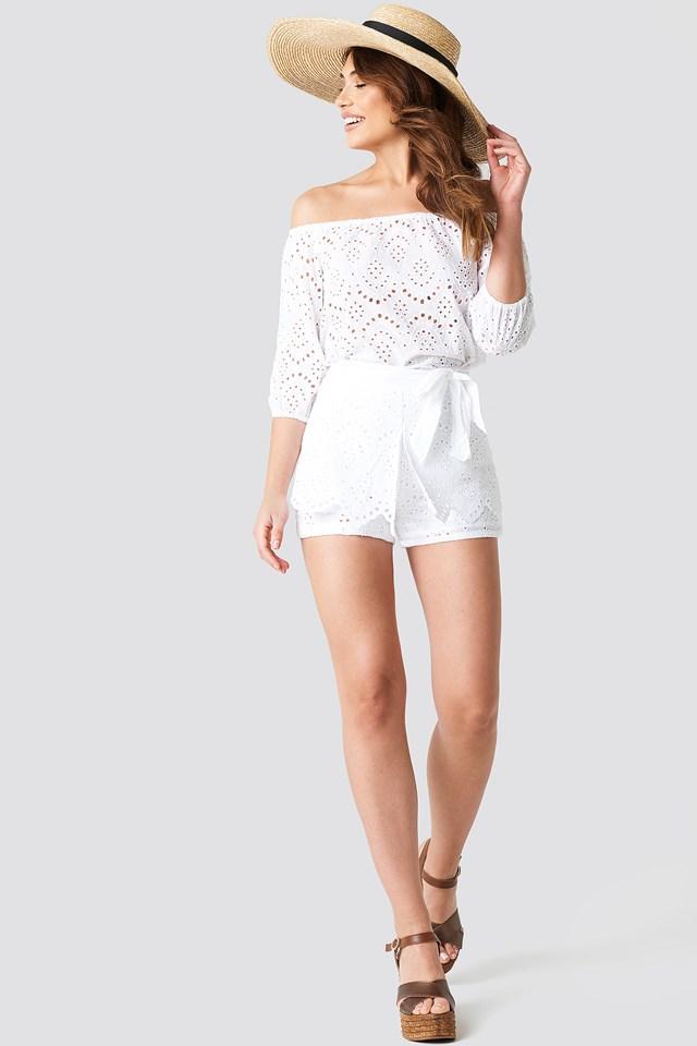 High Waist Crochet Frill Shorts White