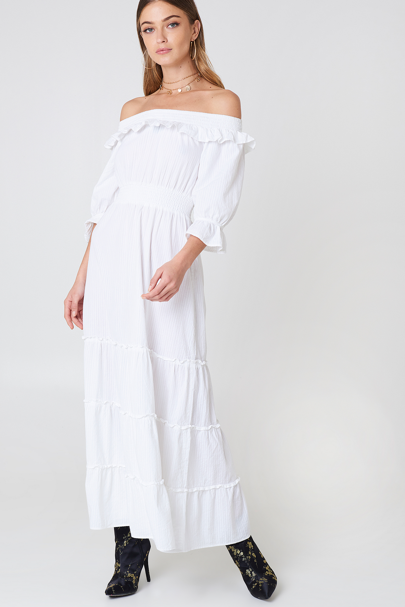 debiflue x na-kd -  Off Shoulder Ankle Dress - White