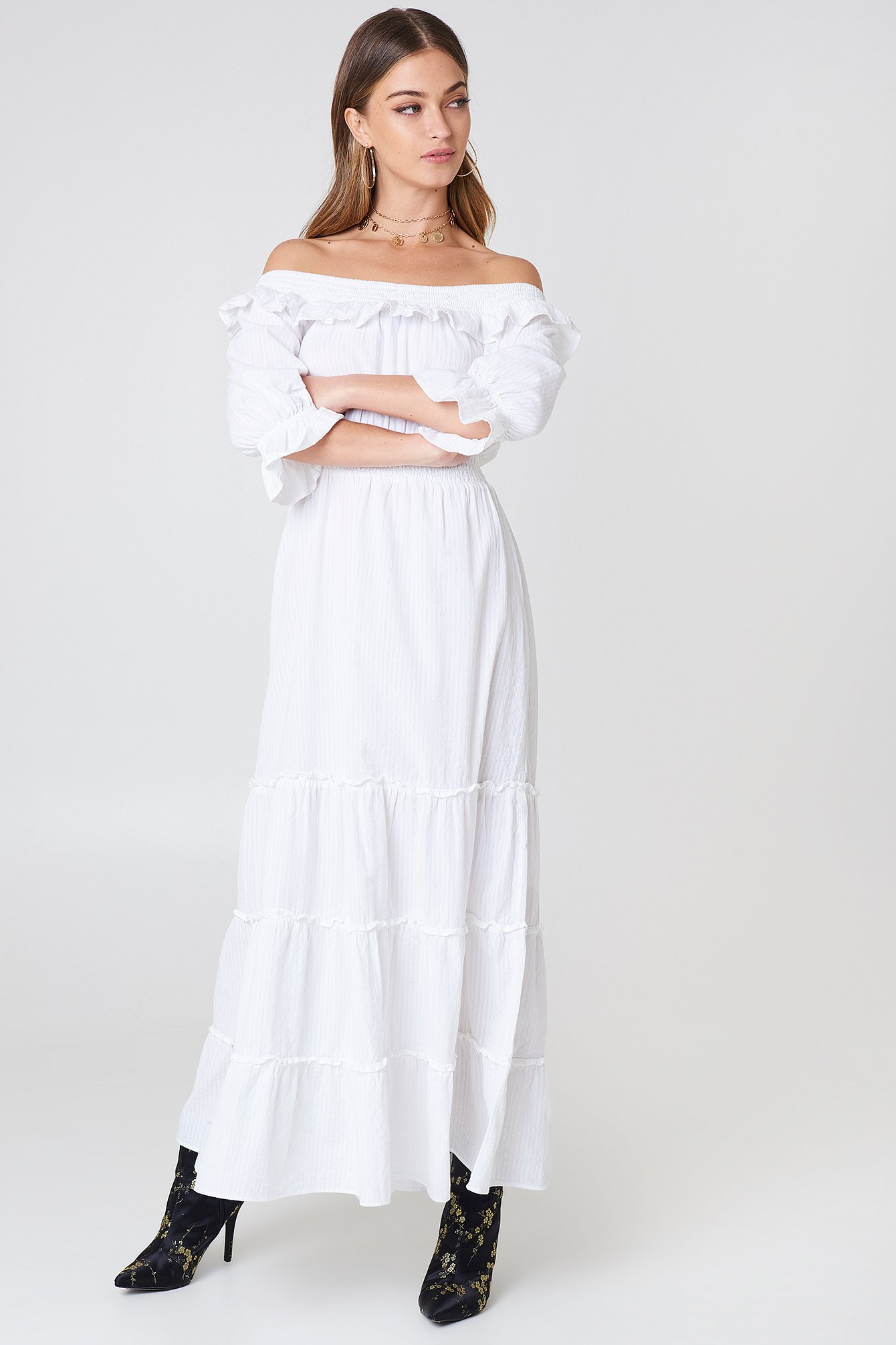 White Off Shoulder Ankle Dress
