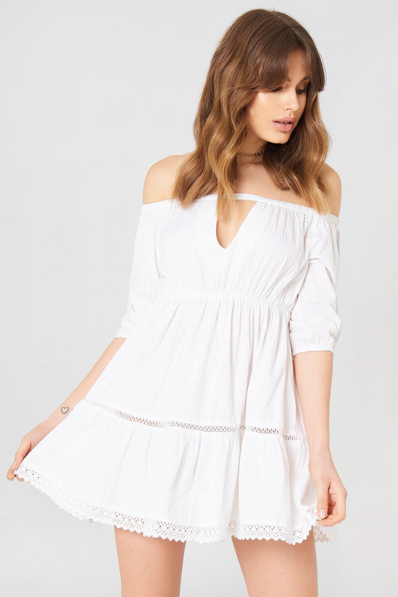 Off Shoulder Crochet Dress White Na Kdcom