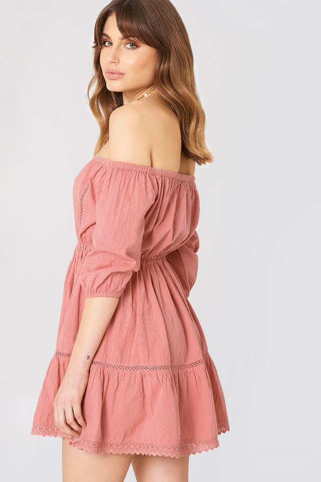 Off Shoulder Crochet Dress NA-KD.COM