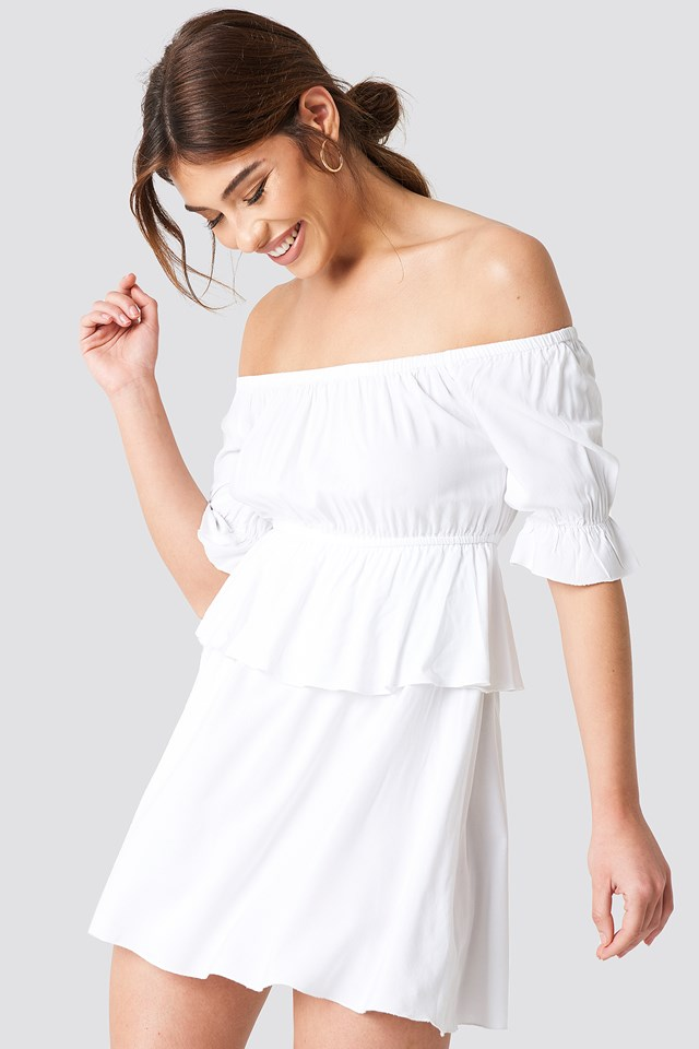 Off Shoulder Frill Short Dress White