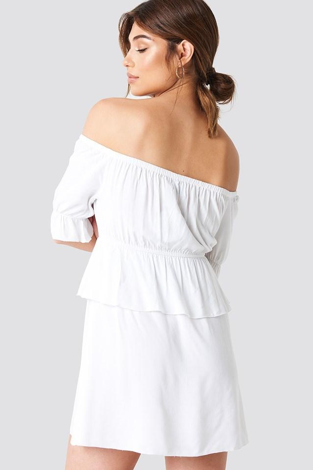 Off Shoulder Frill Short Dress White