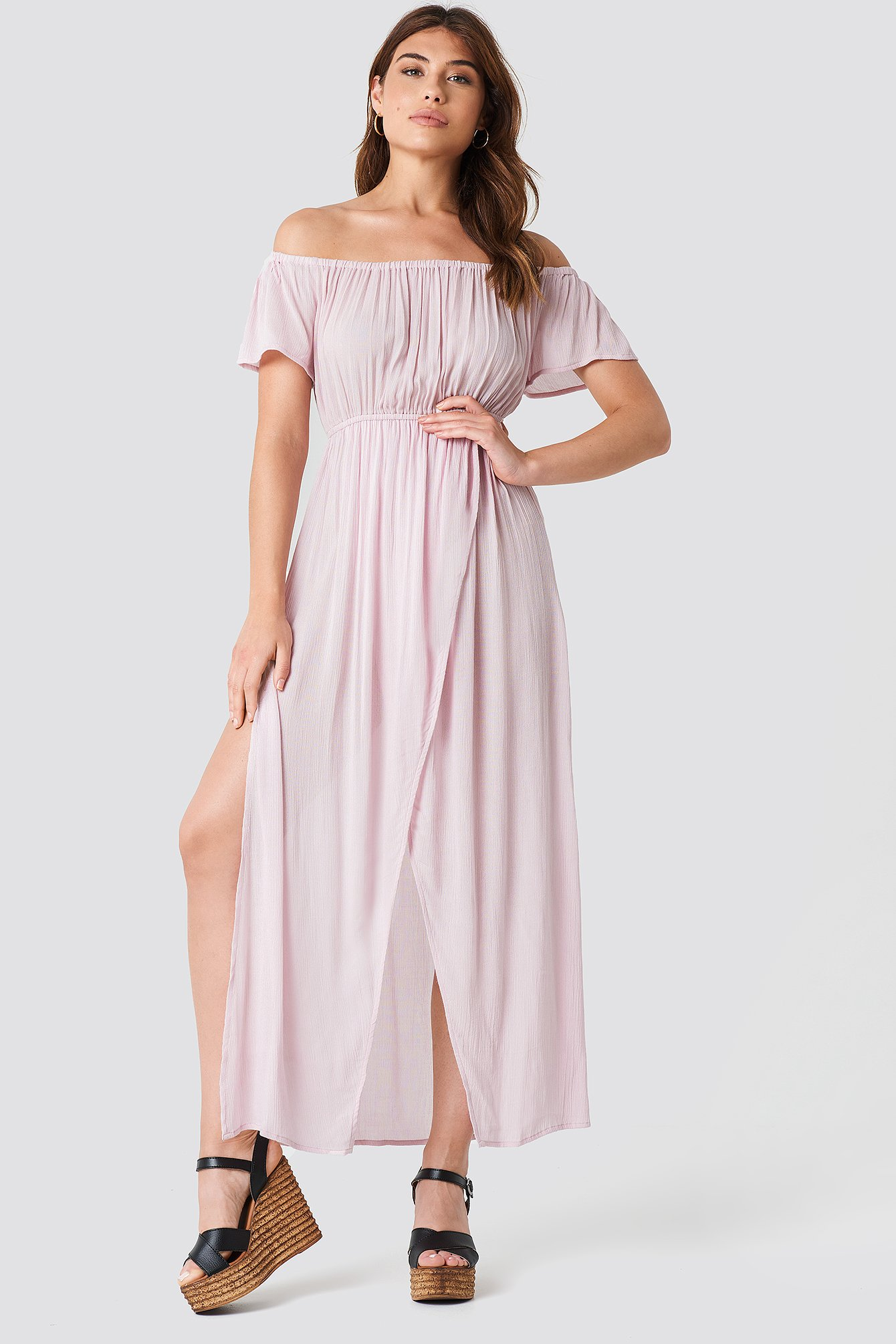 DEBIFLUE X NA-KD | Debiflue x NA-KD Off Shoulder Long Dress - Pink | Goxip