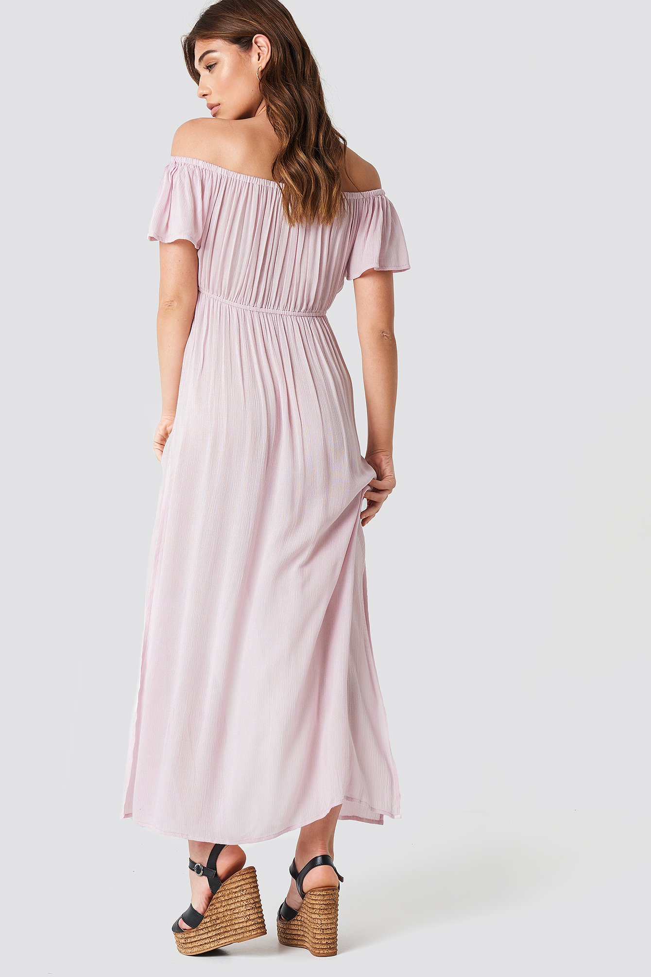 Pink Off Shoulder Long Dress