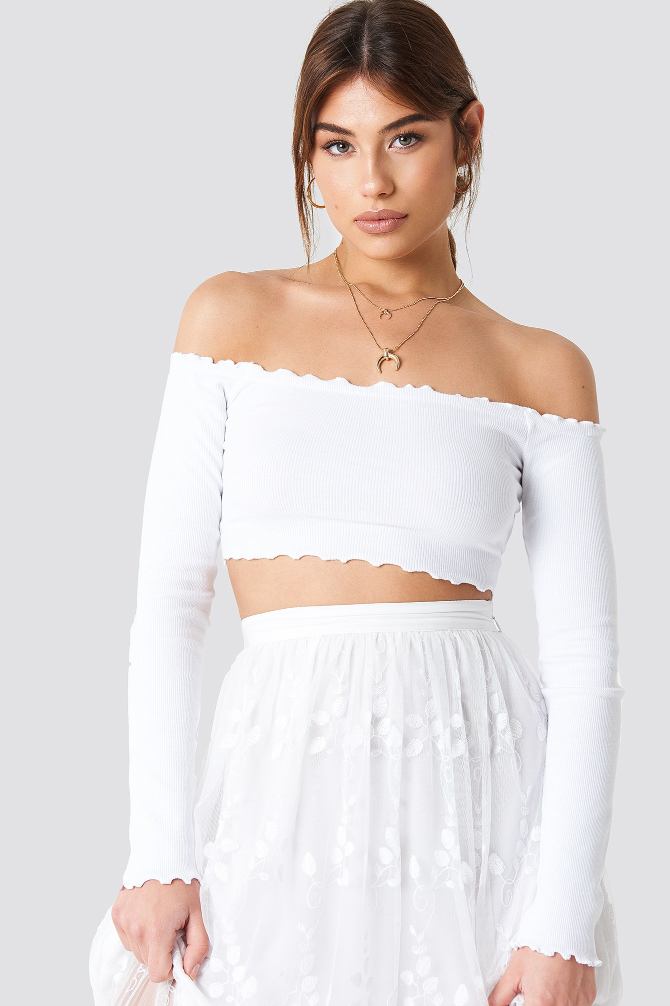 Off Shoulder Ribbed Crop Top NA-KD.COM