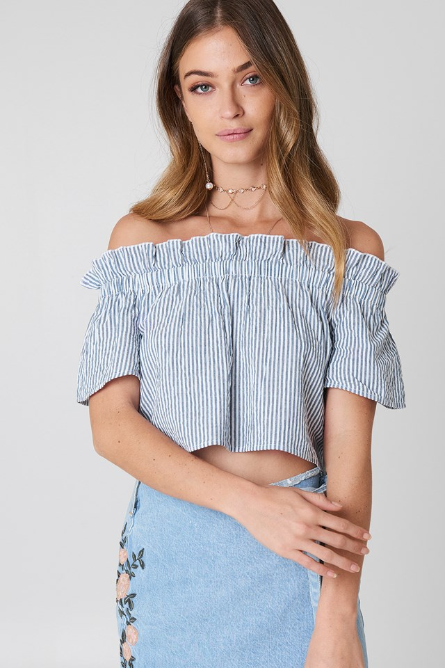 Off Shoulder Short Sleeve Top Blue/White Stripe