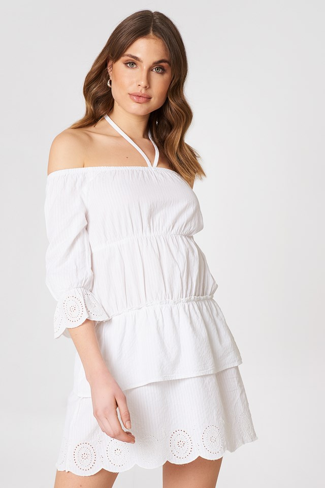 Off Shoulder String Dress White
