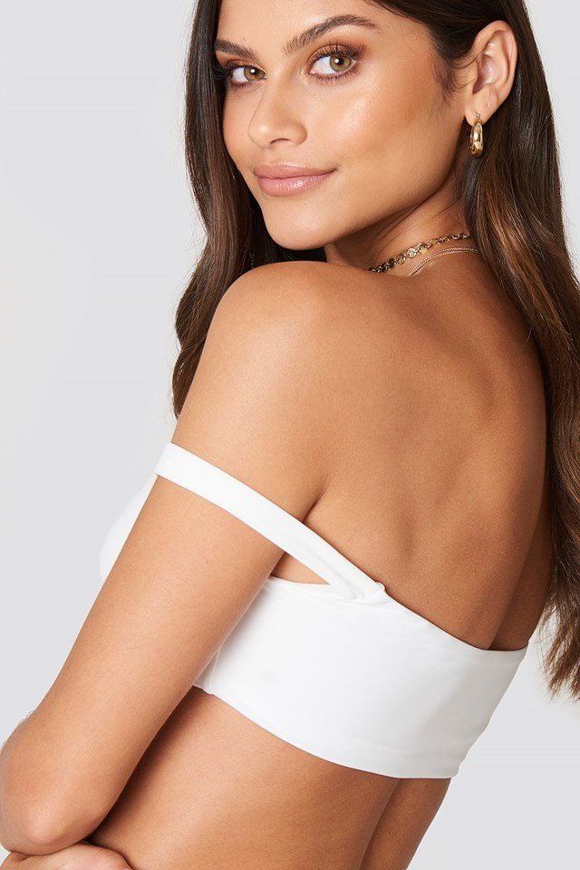 Off Shoulder Bikini Top White