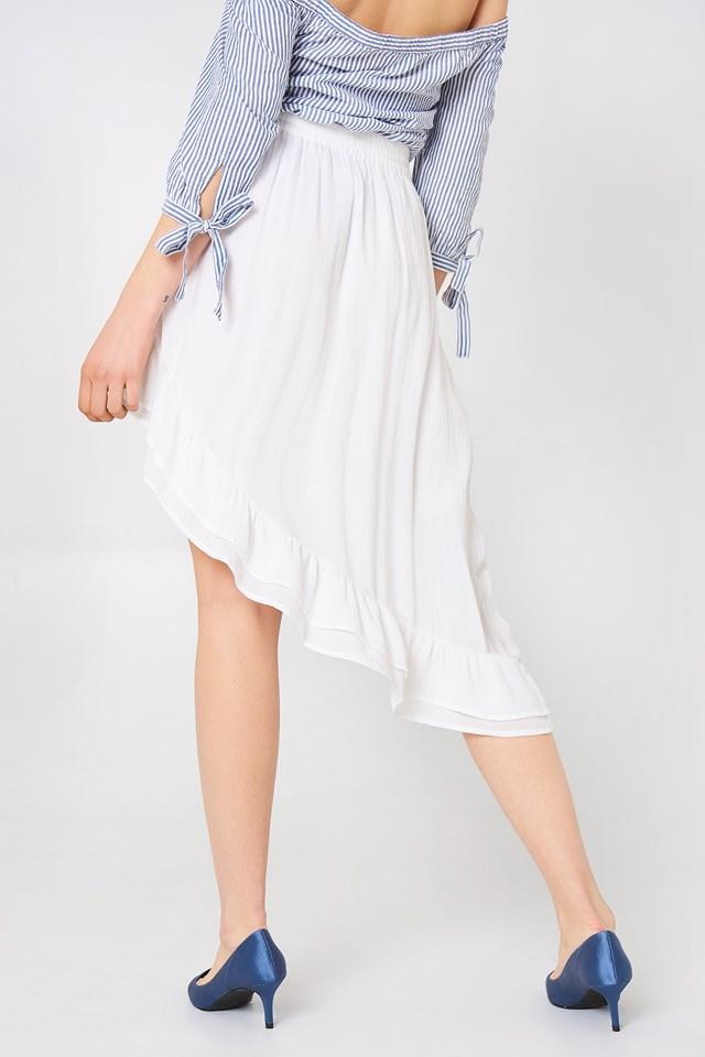 Side Slit Flounce Skirt White