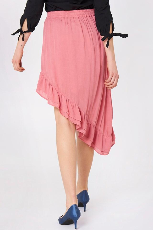 Side Slit Flounce Skirt Rose