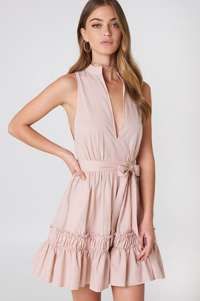 Sleeveless Front Tie Dress Pink