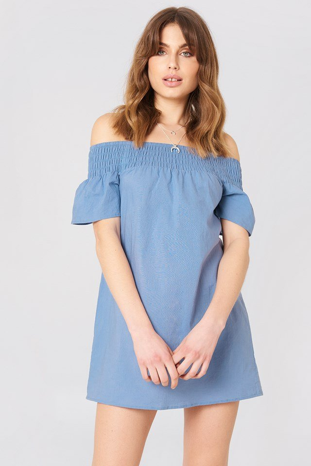 Smocked Off Shoulder Dress Blue