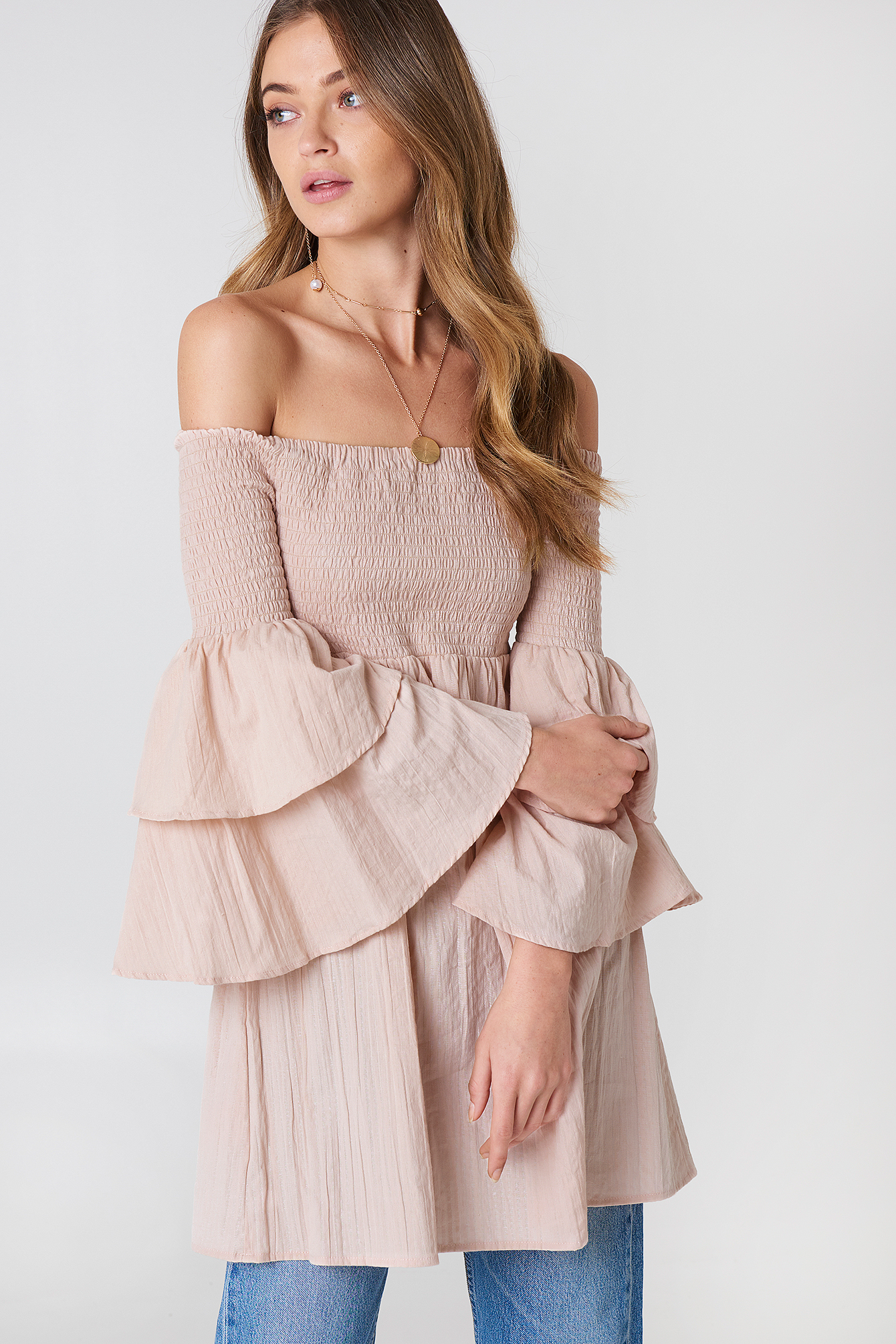 debiflue x na-kd -  Smocked Off Shoulder Tunic - Pink
