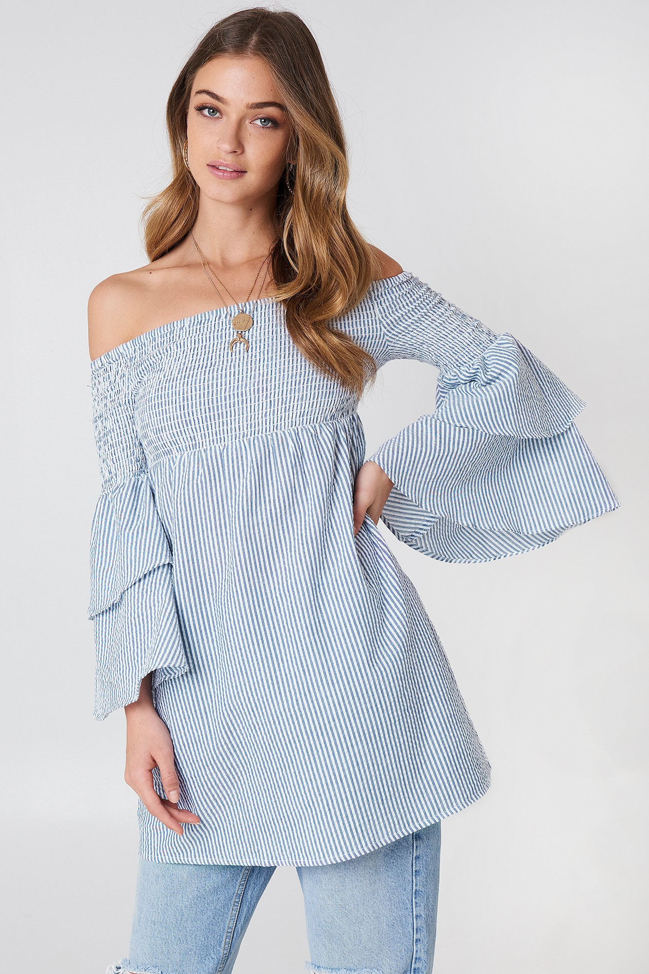 Smocked Off Shoulder Tunic