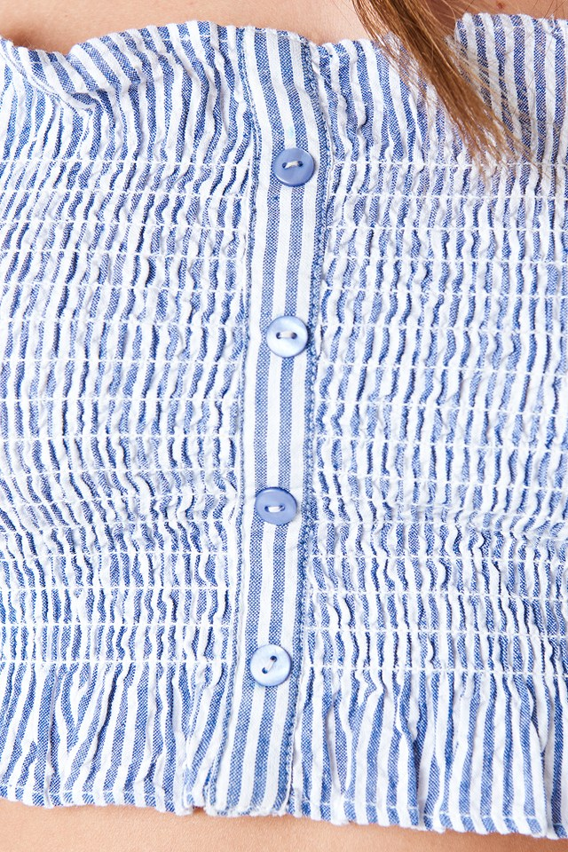 Strapless Smocked Frill Top Light Blue/White Stripe