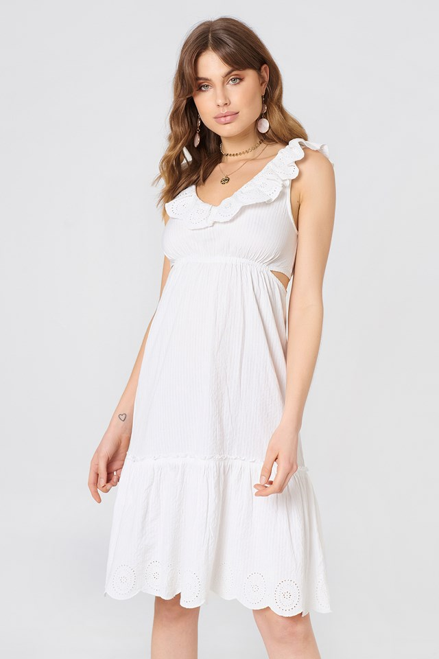V Neck Cut Out Dress White