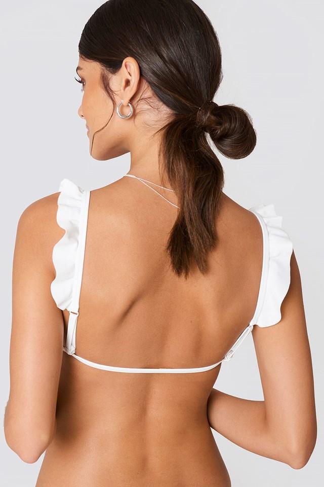 V Neck Frill Bikini Top NA-KD.COM