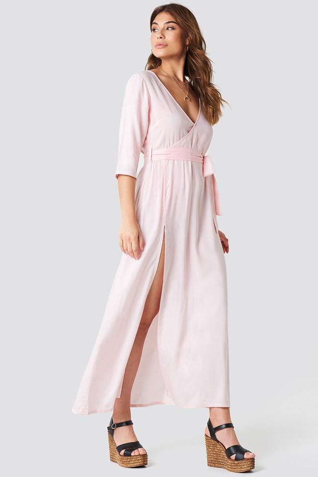 V Neck Long Dress Pink