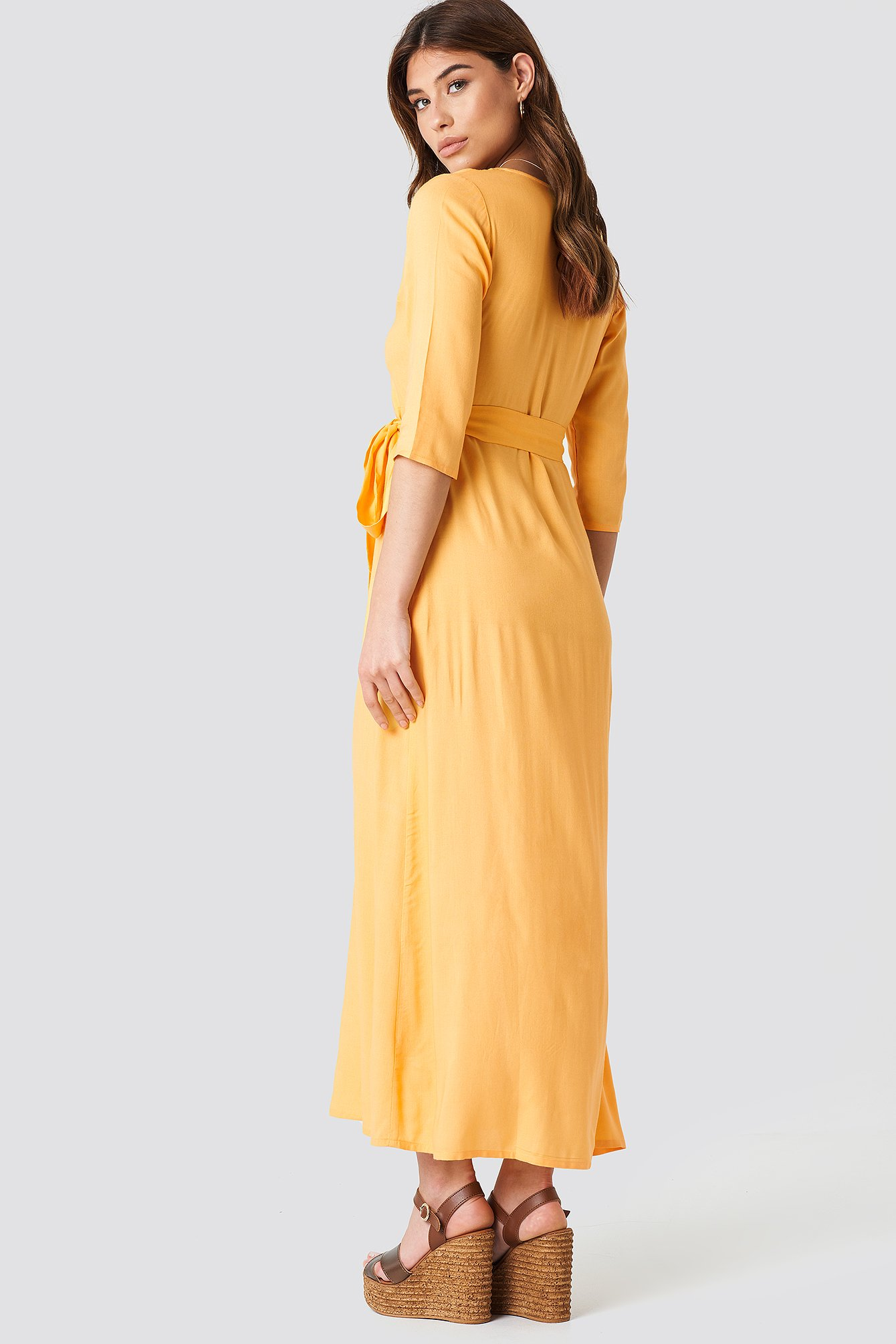 V Neck Long Dress NA-KD.COM