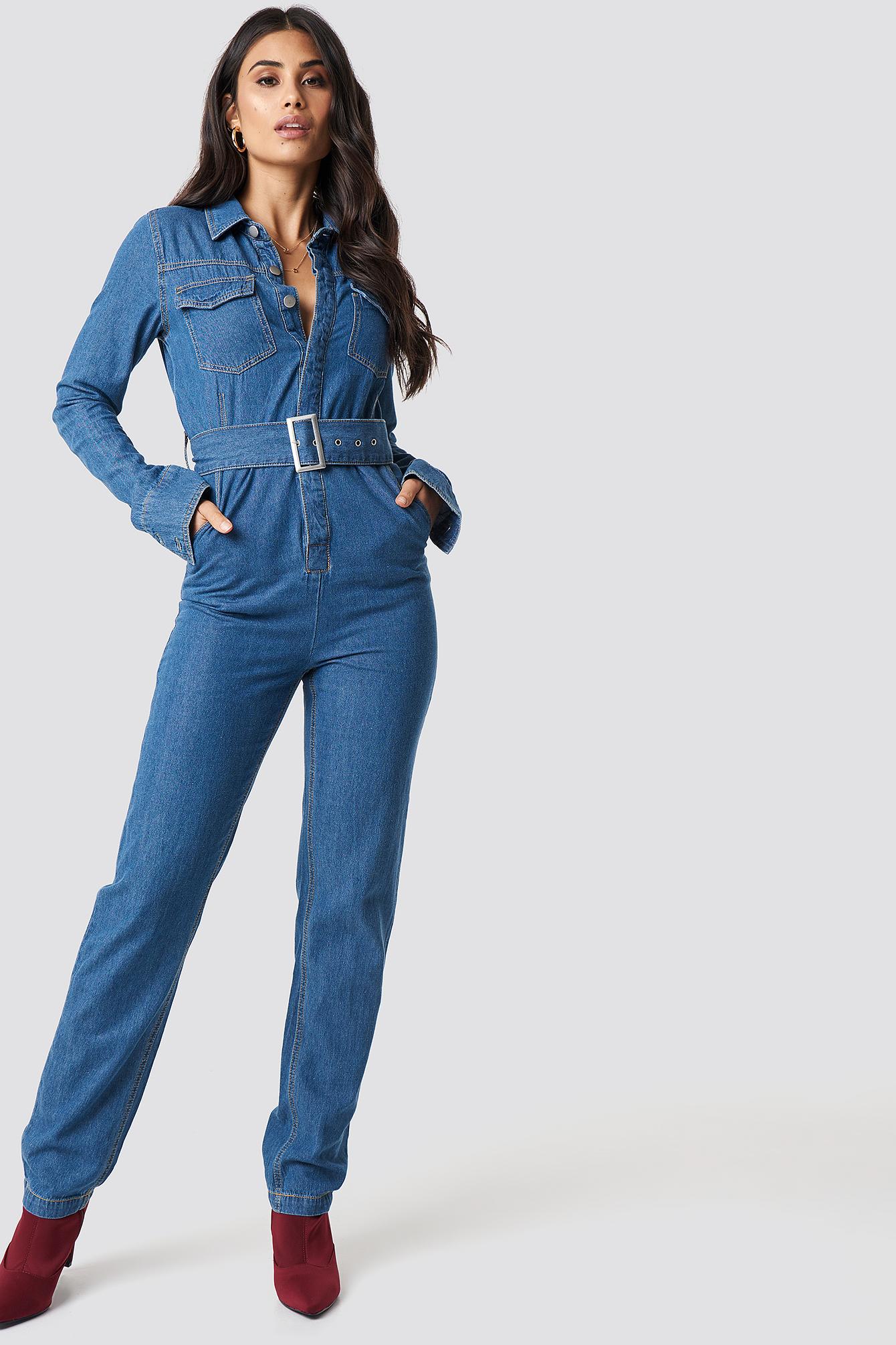 Belted Denim Jumpsuit NA-KD.COM