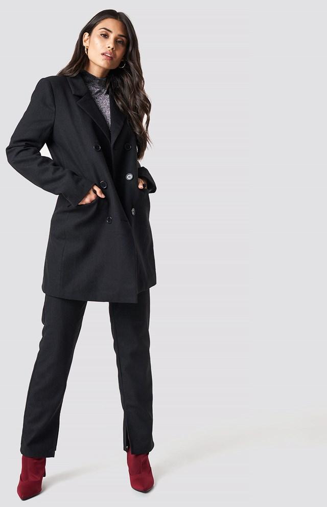 Belted Suit Jacket Black
