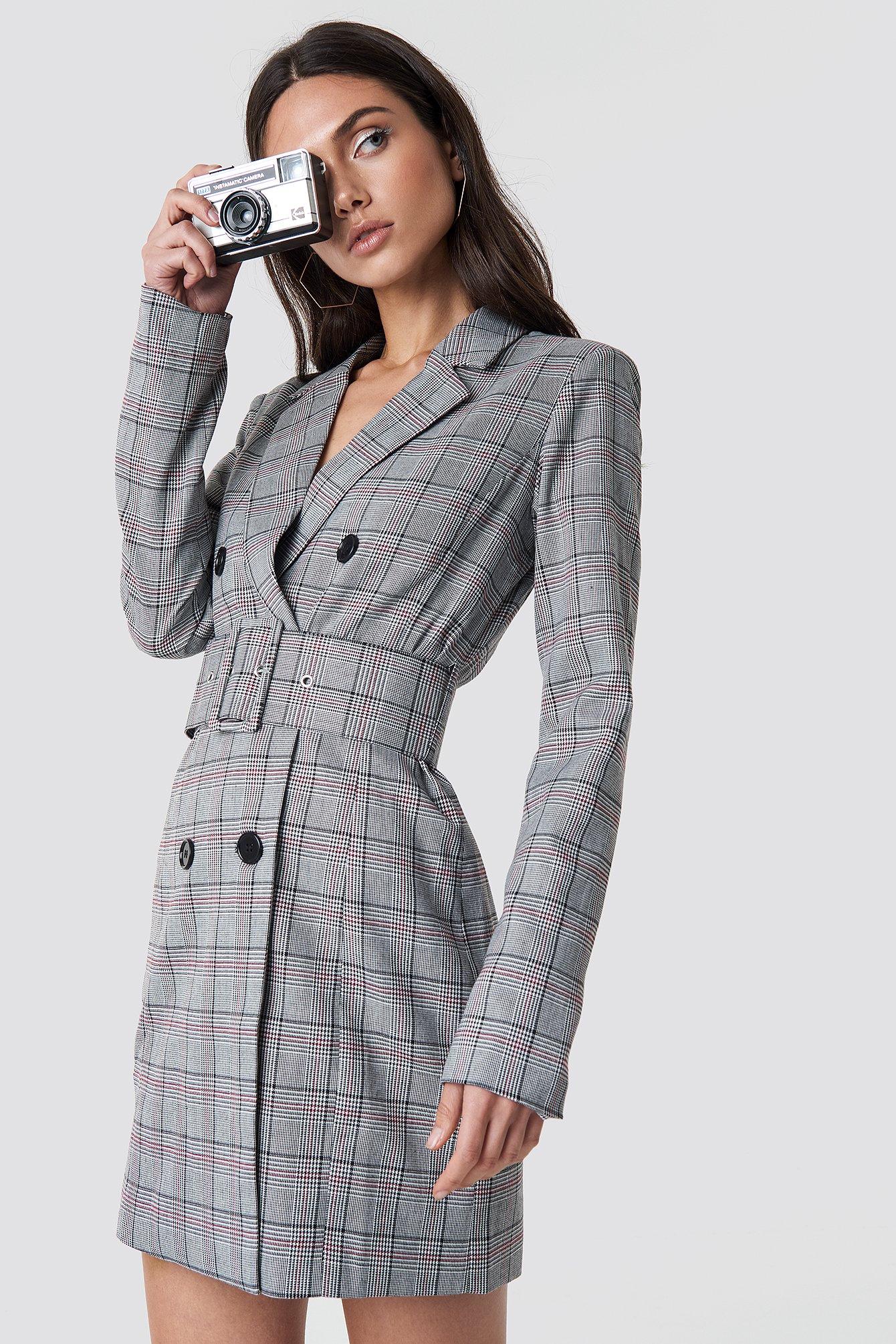 7a5a89c116 Checked Belted Blazer Dress Grey | na-kd.com