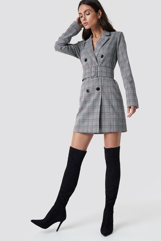 Checked Belted Blazer Dress Checked