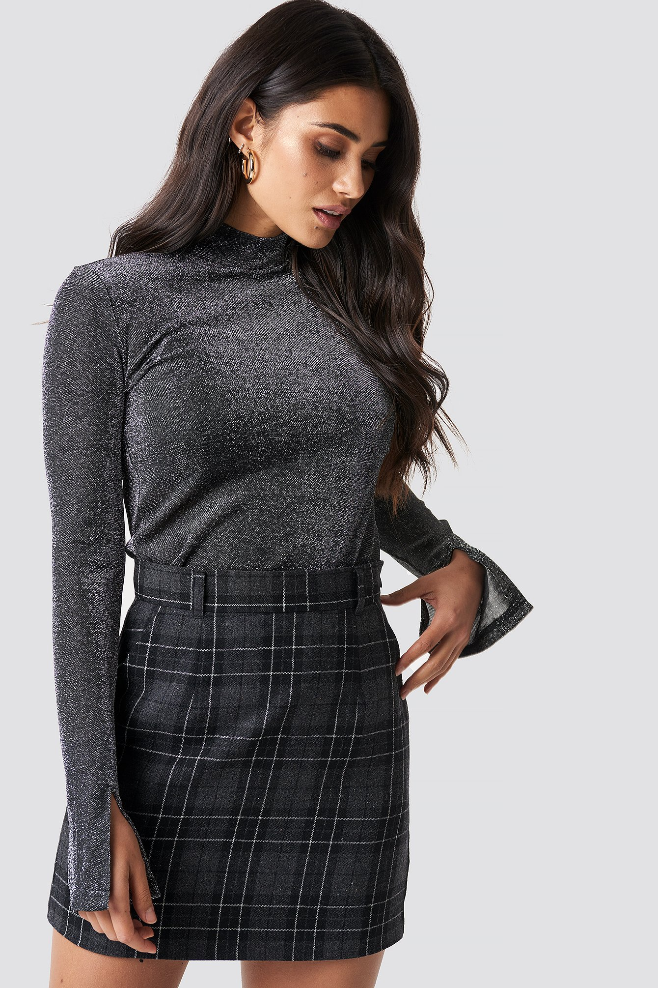 Grey Check Checked Mini Skirt