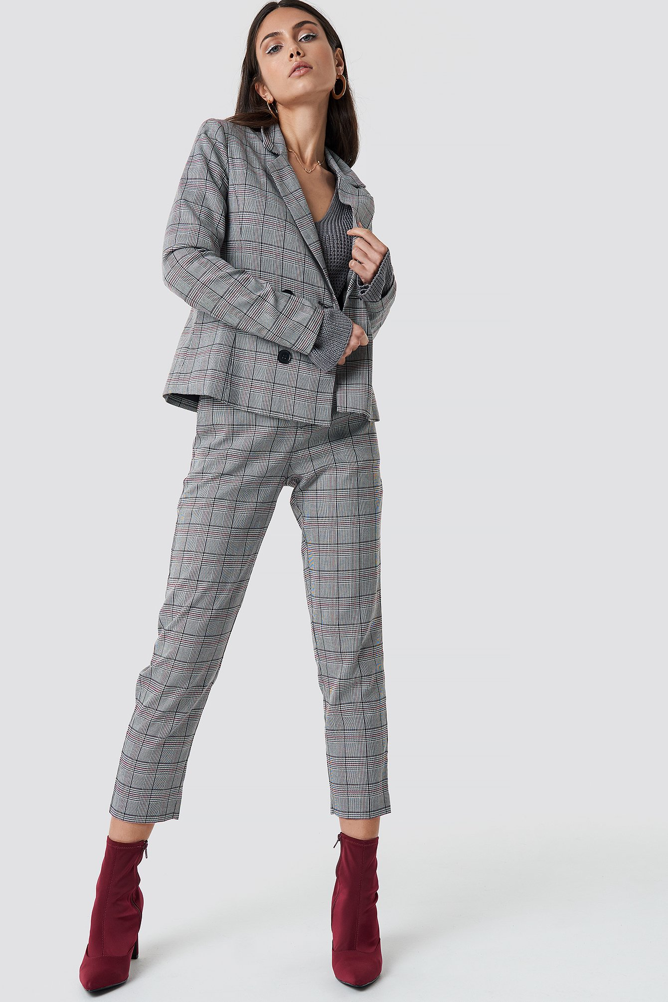 Checked Double Button Blazer NA-KD.COM