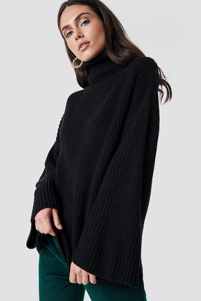 Cozy Polo Knit Sweater Black