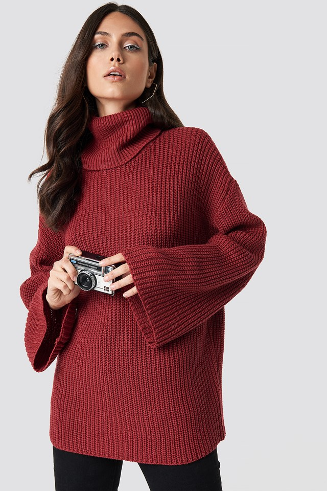 Cozy Polo Knit Sweater Dark Red