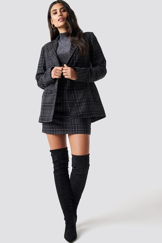 Double Button Checked Blazer NA-KD.COM