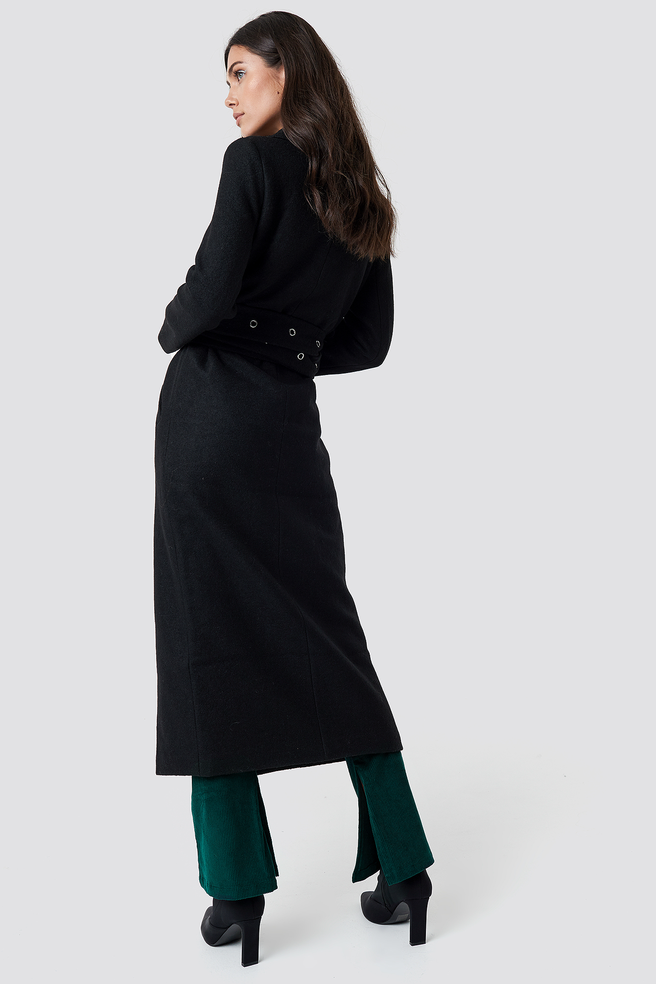 Black Eyelet Belted Trenchcoat
