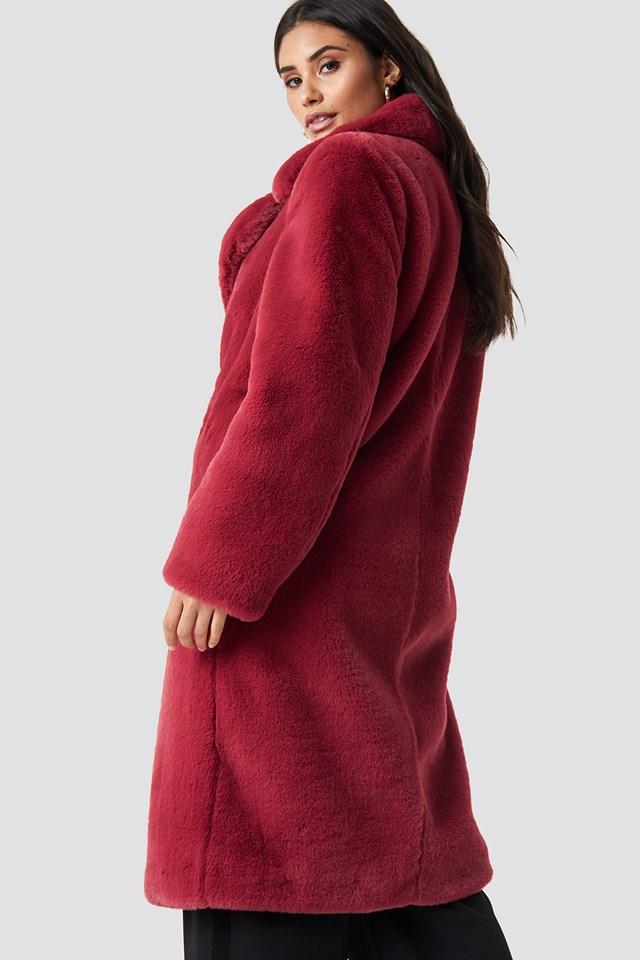 Faux Fur Maxi Coat Poppy Red