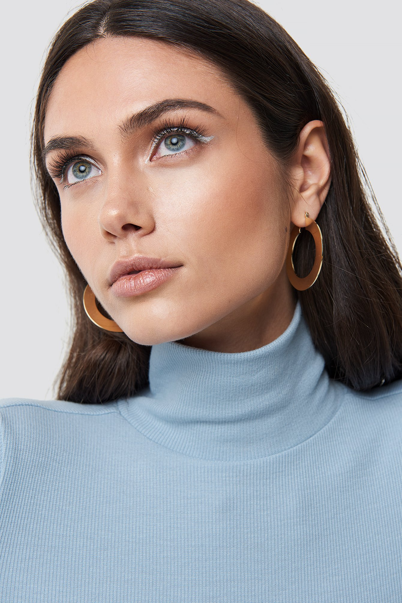 Flat Gold Hoop Earrings NA-KD.COM