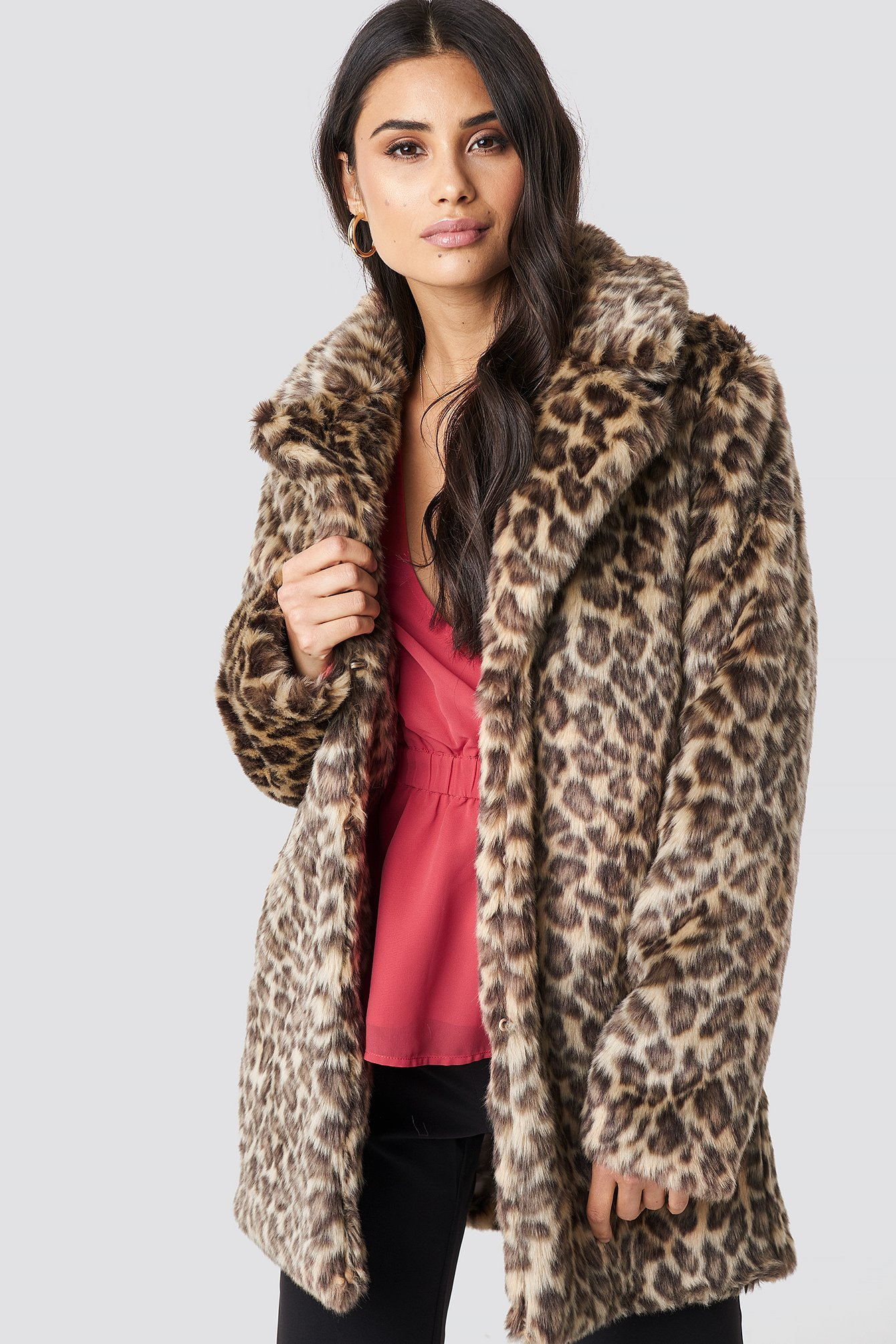 dilara x na-kd -  Fluffy Leo Jacket - Multicolor