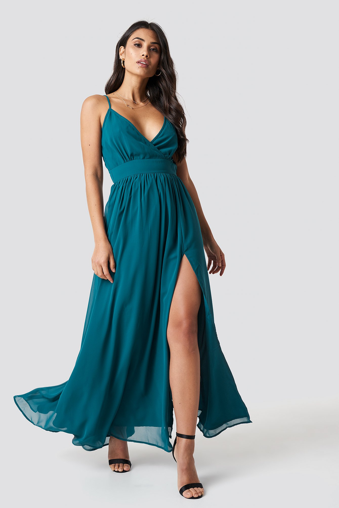 Front Overlap Maxi Dress - Blue, Turquoise in Blue,Turquoise